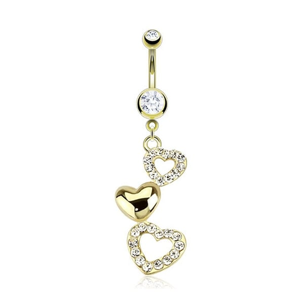 Cascading Hearts With Multi CZ Dangle gold-plated Navel Belly Button Ring