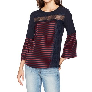 French Connection NEW Blue Inset Lace Women's Medium M Striped Blouse