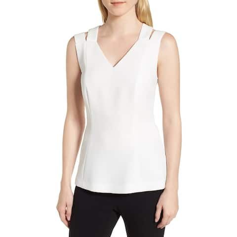 Boss Hugo Boss White Ivory Womens Size 14 Textured V-Neck Tank Top