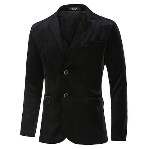 Men Velvet Blazer Slim Fit Notch Lapel Two Buttons Sport Coat Jacket - Black