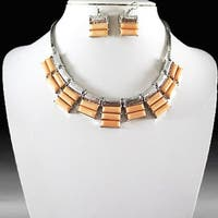 Stone Statement Fashion Necklace & Earring Set-Light Peach