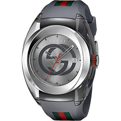 Gucci Unisex YA137109 'Sync' Multicolored Silicone Watch - Grey