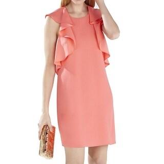 BCBGMaxazria NEW Pink Coral Women's Size XS Shift Ruffled Dress