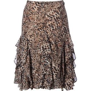 Lauren Ralph Lauren Womens Chiffon Cascade Ruffle A-Line Skirt