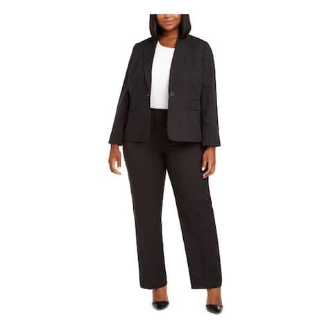 LE SUIT Black Blazer Straight leg Pant Suit Size 14W