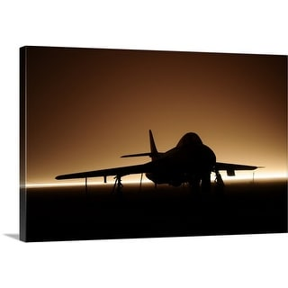 Premium Thick-Wrap Canvas entitled Hawker Hunter jet silhouette in fog