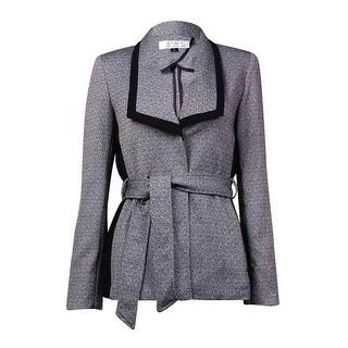 Tahari Women's Wing Collar Belted Long Woven Blazer