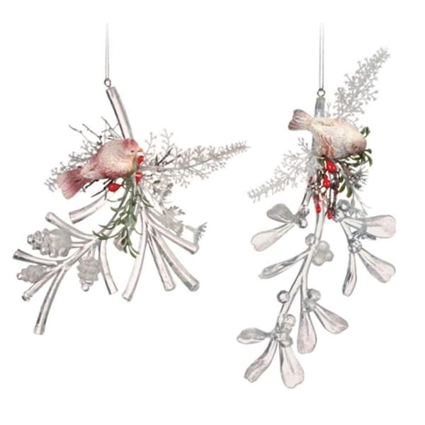 "Club Pack of 12 Icy Crystal Decorative Christmas Bird on Branch Ornaments 6"" - CLEAR"