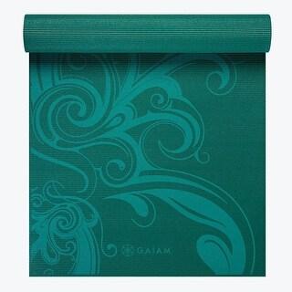 GAIAM Premium Turquoise Surf Yoga Mat (5MM) - Printed Turquoise - Blue