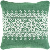 "18"" Tree Green and Snowy White Decorative Snowflake Christmas Throw Pillow –Down Filler"