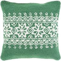 "18"" Tree Green and Snowy White Decorative Snowflake Christmas Throw Pillow"