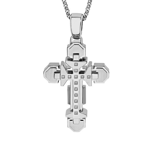 Black & Blue Men's Raised Cross Pendant with Diamonds in Stainless Steel