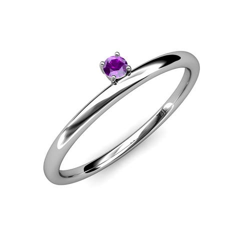 TriJewels Amethyst Women Solitaire Asymmetrical Stackable Ring 14K Gold