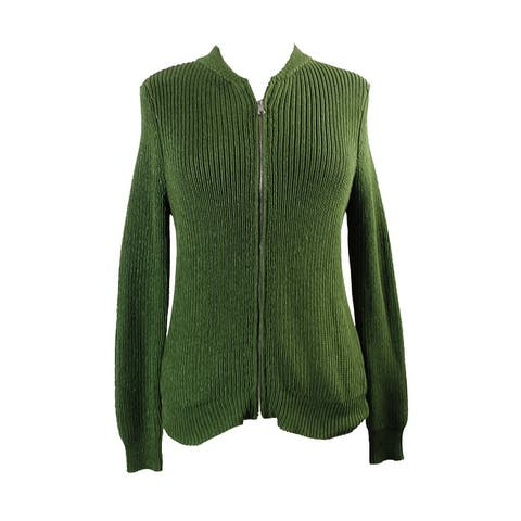 Ny Collection Green Metallic Sweater Jacket S