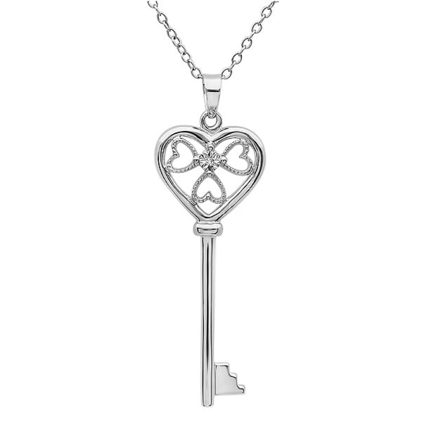 "Amanda Rose Diamond Key to Her Heart Pendant-Necklace in Sterling Silver on an 18"" Chain"