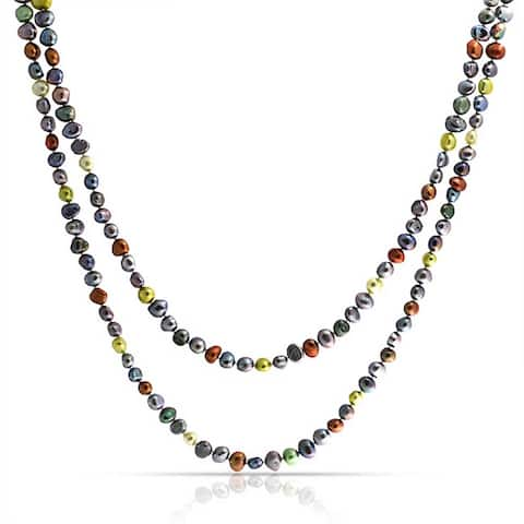 Earth Tone Freshwater Cultured Pearl 925 Sterling Silver Necklace