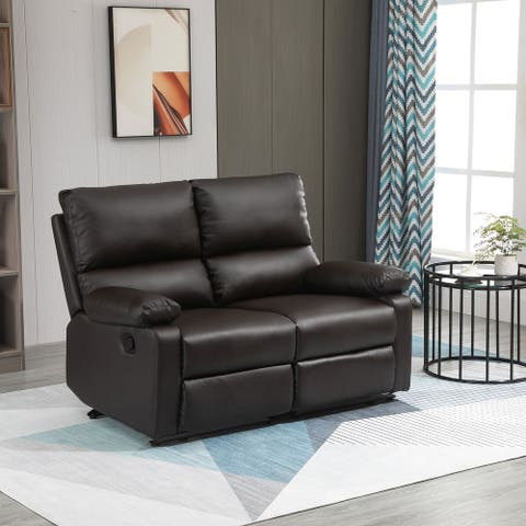 HOMCOM Modern Manual Recliner 2 Seater Sofa with PU Leather Upholstery, Side Handles and Footrest, Brown