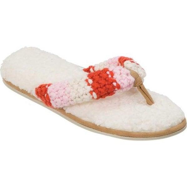 a3552ab32b1b Shop Dearfoams Women s Chunky Stripe Knit Thong Slipper Muslin ...