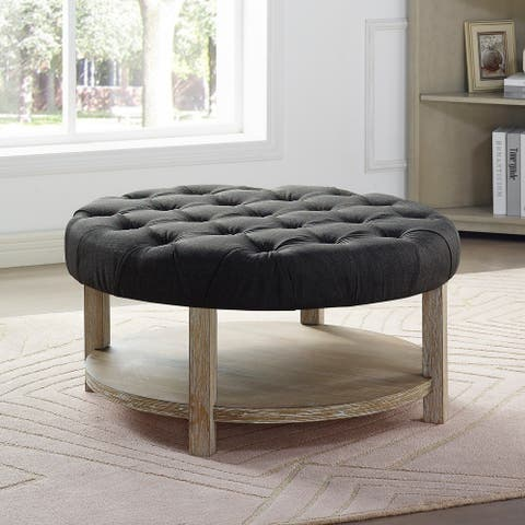 Furniture of America Harissa Transitional Round Button Tufted Ottoman