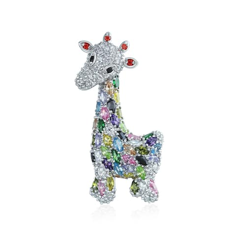 Giraffe Zoo Animal Brooch CZ Colorful Pave Cubic Zirconia Silver Tone Rhodium Plated