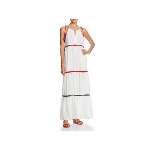 Red Carter Womens Dress Swim Cover-Up Tiered Keyhole