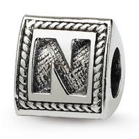 Sterling Silver Reflections Letter N Triangle Block Bead (4mm Diameter Hole)