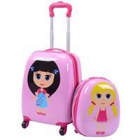Costway 2Pc 12'' 16'' Kids Girls Luggage Set Suitcase Backpack School Travel Trolley ABS