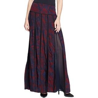 DKNY Womens Pleated Skirt Silk Printed