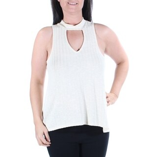 Womens Beige Sleeveless Keyhole Casual Top Size M