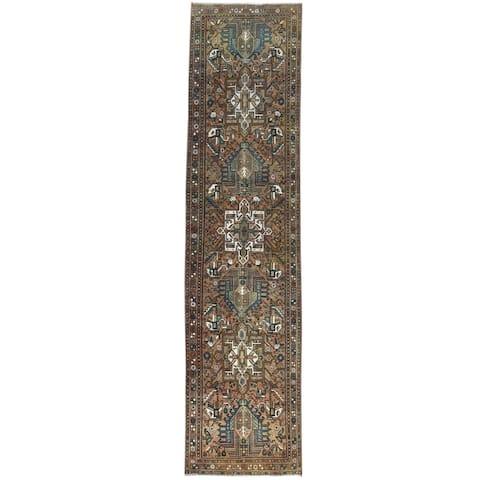 "Shahbanu Rugs Chocolate Brown Vintage Persian Karajeh Sheared Down Pile Clean Hand Knotted Pure Wool Runner Rug (3'2"" x 12'7"")"