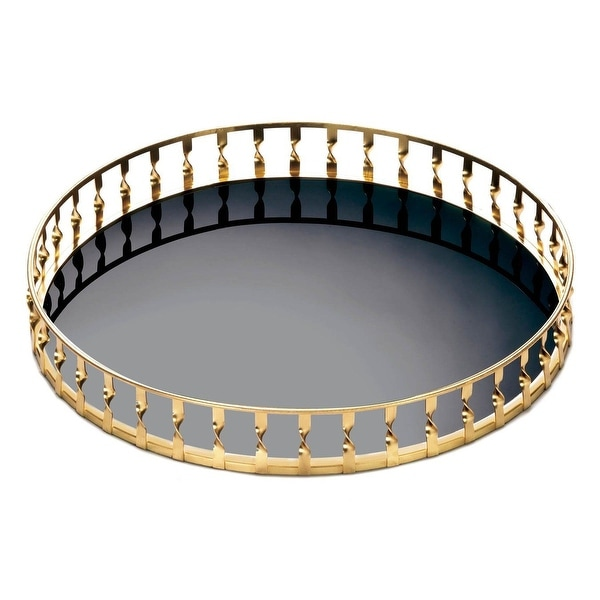Hot Selling Gold Twist Mirrored Tray