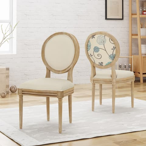 Phinnaeus Upholstered Farmhouse Dining Chairs (Set of 2) by Christopher Knight Home