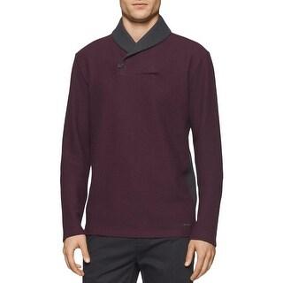 Calvin Klein Mens Shawl-Collar Sweater Contrast Trim Long Sleeves