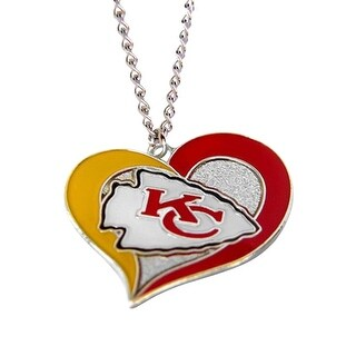 Kansas City Chiefs NFL Swirl Heart Necklace