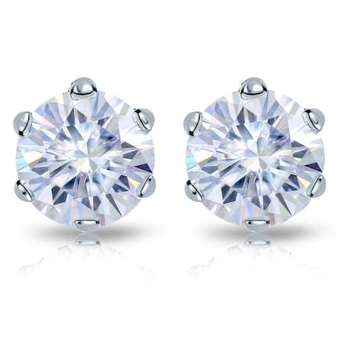 Auriya Platinum 1ctw Round Moissanite Stud Earrings - 5 mm, Screw-Backs - 5 mm, Screw-Backs