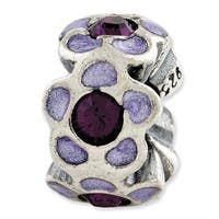 Italian Sterling Silver Reflections Purple Swarovski Elements Enamel Bead