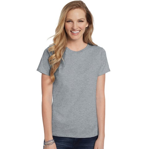 Hanes Women's Relaxed Fit Jersey ComfortSoft® Crewneck T-Shirt - Size - 2XL - Color - Light Steel