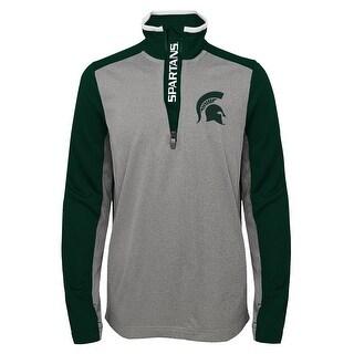 Gen 2 NEW Green Gray Boys 8 Half-Zip Pullover Mesh-Panel Athletic Top