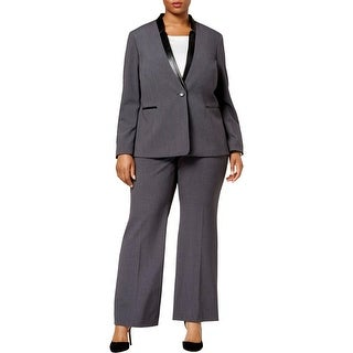 Tahari ASL Womens Plus Pant Suit Faux Leather Trim Professional - 16W