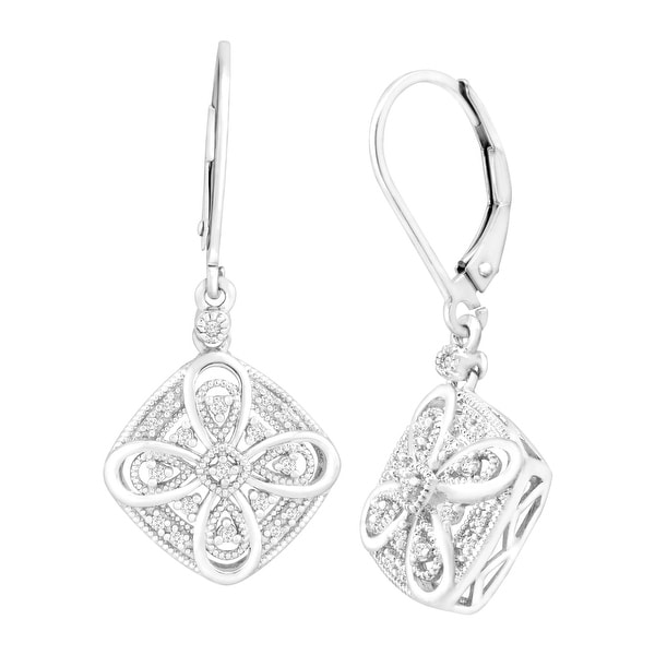 1/10 ct Diamond Filigree Drop Earrings in Sterling Silver