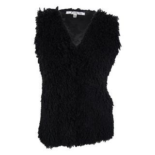 Studio M Women's Faux Fur Vest - Black