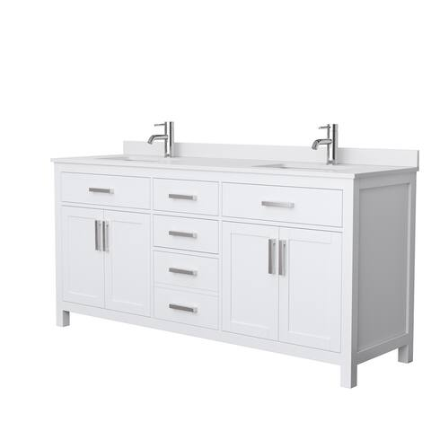 Beckett 72-inch Double Vanity with Cultured Marble Top