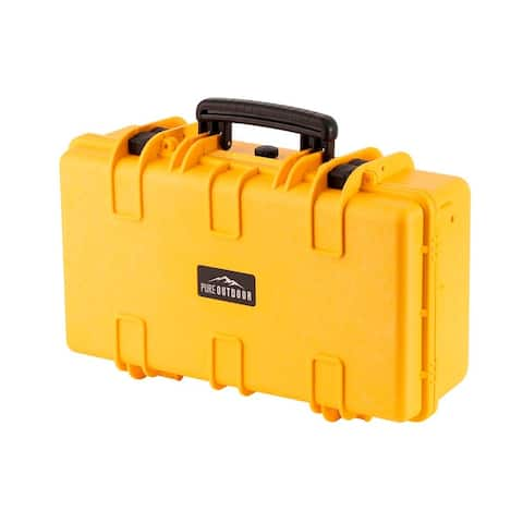 Monoprice Weatherproof Hard Case - 22in x 14in x 8in, Yellow with Customizable Foam, Shockproof, IP67