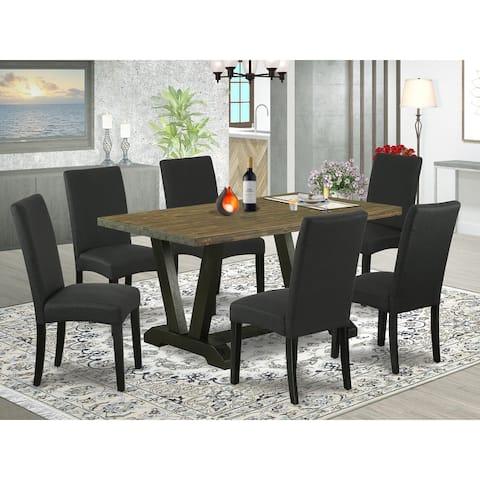 V676DR124-5 5-Piece Dinette Set- 4 Parson Chairs with Black Linen Fabric