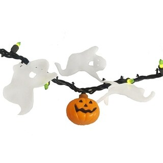 Set of 50 Opaque Green Mini Halloween Lights with Pumpkins & Ghosts - Black Wire