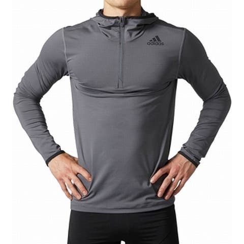 Adidas Mens Sweaters Gray Size Small S Stretch Hooded 1/2 Zip Logo