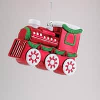 "9"" Red and Green Glitter Embellished Express Train Christmas Ornament"