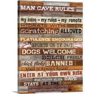 """Man Cave Rules"" Canvas Wall Art"