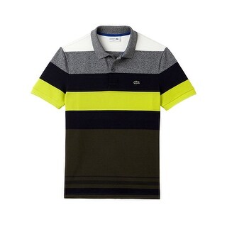 Lacoste Mens Bold Stripe Pique Polo in Lemon/Multi