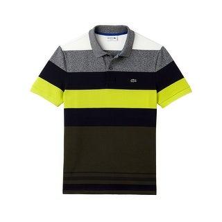 Lacoste Mens Bold Stripe Pique Polo in Lemon/Multi